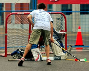Ball hockey.